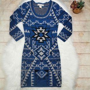 Flying Tomato Aztec Print Bodycon Dress Size S